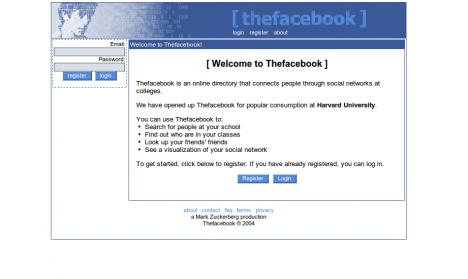 Facebook såg ut så här 2004 !