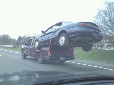 Så kan man också bärga en bil